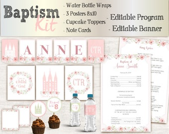 Baptism Girl Kit, Editable LDS Baptism Program, Cupcake Toppers, Water Bottle Wraps, Note Card, Poster Baptism, Instant Download, banner