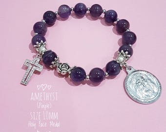 Amethyst Rosary Bracelet with Holy Face Medal