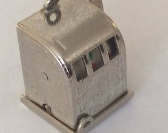 Sterling silver slot machine gambling charm vintage #626