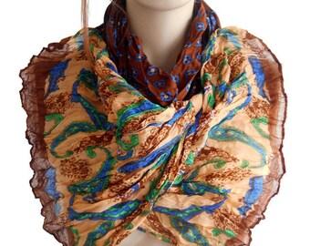 Brown Women scarf, Women Cotton scarf, Boho Women scarf, Authentic scarf, Scarf bandana, Scarf shawl, Women shawl, Fashion Scarf, Long scarf