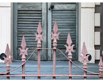 New Orleans photography, French Quarter, wrought iron fence, travel photography, fine art print, shabby chic, New Orleans home decor, NOLA