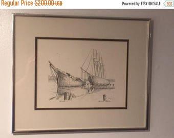 Sale Sale Sale Boats/Ships At Dock Framed Print Signed Frank Lohan Limited Edition 18/200. VINTAGE UNIQUE RARE.Free Shipping