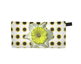 Floral Daffodil Pouch, Pencil Case, Zippered Coin Purse, Small Makeup Phone Cosmetic Jewelry Bag, Back to School, Stocking Stuffer, Yellow