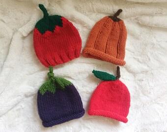 Knit Fruit Baby Hats // Baby Photo Prop // Pumpkin Hat // Apple Hat //Tomato Hat // Eggplant Hat