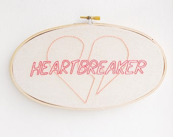 "Heart Breaker, 5"" x 9"" Hand Embroidery Hoop"