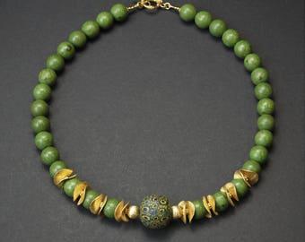 Java Jatim Bead, Gold Vermeil, Beaded Necklace, Designer Necklace, Artisan Necklace