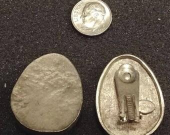 SIGNED Les Bernard Silver Metal Earrings - Rare, Early Set