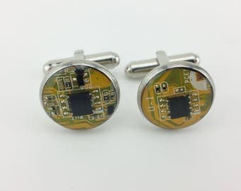 Stainless Steel Circuit Board Cuff Links