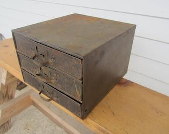 vintage industrial storage box,3 drawer metal box,art supply storage, craft supply box,small metal box with drawers,rustic metal storage box