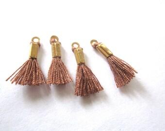 Set of 4 mini Brown tassels