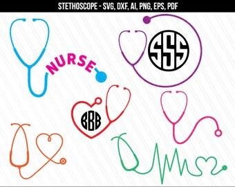 Stethoscope svg, Nurse heart stethoscope svg, Stethoscope monogram svg, stethoscope frame nurse heart svg dxf clipart-svg,dxf,ai,eps,png,pdf