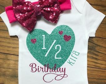 Half Birthday Heart Bodysuit