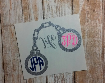 Shackle/Handcuff Decal/Restraints/Policeman Decal/Marriage Decal/Monogram Handcuff/Hitched for Life/Monograms/Decal/HTV