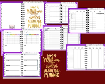 INTRO PRICE Have It Your Way 18-Month Student Academic Digital Planner, Tabbed, Purple