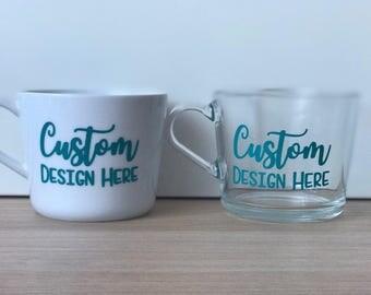 2x Custom Glass Mug | Personalised Cup | Mug | Gift | Coffee Mug