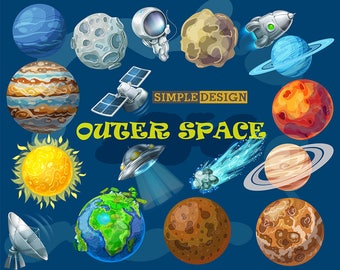 Space clipart, Outer space clipart, Planet clipart, Solar System Clipart, Digital Planets clipart, Planets Clipart, Solar System digital.