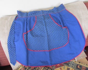 Vintage 50s apron home made apron handmade vintage apron blue apron polka dot apron vintage apron gift.