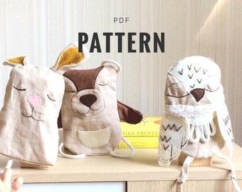 Soft toy pattern, Snow owl plush, Owl nursery, Doll making tutorial, PDF Pattern Soft Toy, DIY gift, Linen plush, Christmas tutorial