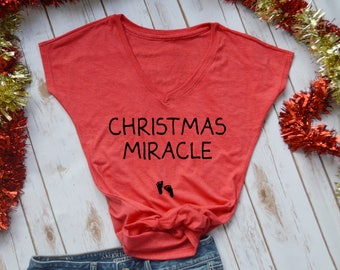christmas miracle- pregnancy announcement shirt- christmas pregnancy announcement- christmas pregnancy shirt- christmas maternity shirt