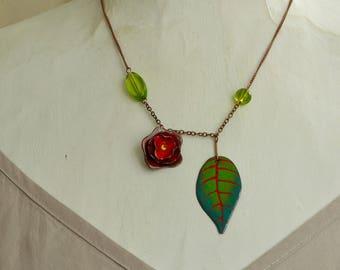 Rose Enamel Necklace, Rose Jewelry, Rose Arbour, Garden Jewelry, Elegant Rose Necklace, Romantic Rose Neckace, Romantic Enamel Necklace,