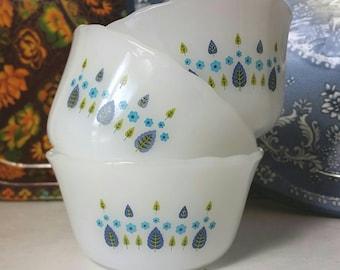 Set of 3 Fire King Swiss Chalet Custard Cups