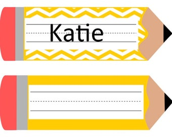Pencil Name Tag Etsy