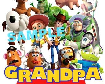 Toy Story Birthday Iron On Shirt Transfer, Disney Jessie Woody Buzz Lightyear tshirt or clip art printable, Grandpa of the Birthday Boy