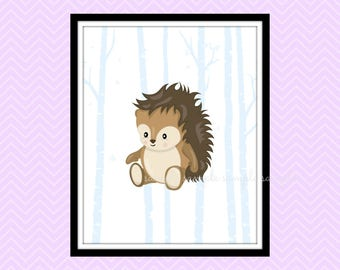 Woodland Nursery Decor, Woodland Animals Printable Wall Art, Hedgehog Wall Art Decor, Baby Wall Art Decor, Instant Download
