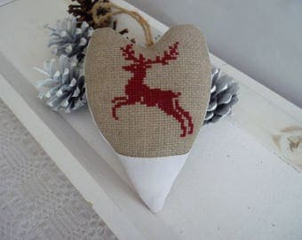 Decorative Christmas heart embroidered cross-stitch pattern deer - Christmas tree decoration-