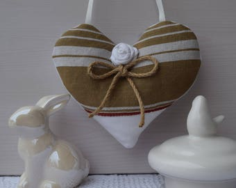Fabric heart - heart decorative ticking Brown - canvas door and pink fabric cushion - hanging heart - heart shabby