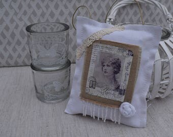 Door cushion shabby - decorative pillow - cushion and vintage image - fabric Pincushion
