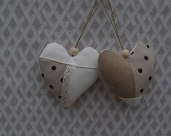 Two hearts fabric bleige - hearts in polka dot fabric and lace - heart decorative hanging - hearts - valentine hearts fabric - heart