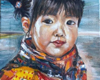 "Original Oil Painting, Chinese Little Girl Portrait-New Cloth, 1711074, 16""x12"""
