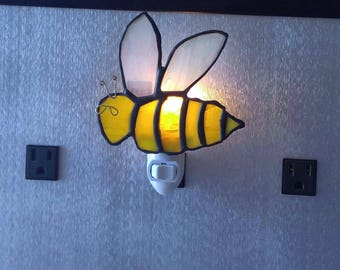 Stained Glass Bee Nightlight-Bumble Bee Nightlight-Stained Glass Nightlights-Home Decor-Bumble Bee-Stained Glass Bee