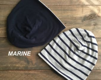 Bamboo stripe Navy/pale grey reversible hat