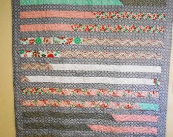 "Quilt, Throw Quilt, Lap Quilt, Striped Lap Quilt, Handmade Grey Striipe Throw Quilt 50"" x 69"""