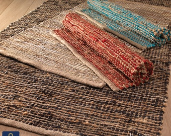 90x150cm hand made leather jute rustic chindi rag rug red blue brown chocolate black
