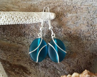 Handmade in Hawaii, Wire wrapped teal blue sea glass earrings, Sterling silver hook, Gift for her. Beach jewelry.