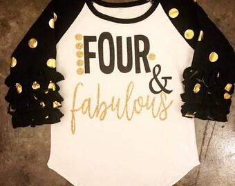 Girls Four and Fabulous Glitter Ruffle Raglan. Little girls fourth birthday shirt. Toddler, preschool tee.