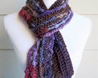 Crocheted Long Scarf, Winter Long Scarf, Multi-color Long Scarf, Handmade