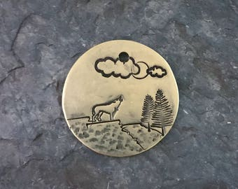 Dog Tag, Howling Wolf Dog Tag, Wolf Tag, Adventure, Personalized Dog Tag, Pet Id Tag, Custom Dog Tag, Pet Supplies, Rustic Style Dog Tags
