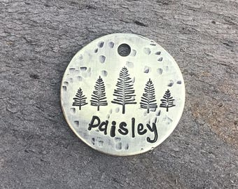 Dog Tag, Trees Dog Tag, Personalized Dog Tag, Pet Id Tag, Custom Dog Tag, Pet Supplies, Designer Dog Tag, Metal Hounds Dog Tag
