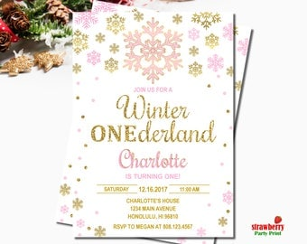 Winter ONEderland Invitation Girl, Pink & Gold Glitter, Snowflake Birthday Invitation, Winter First Birthday, Digital Printable, A60