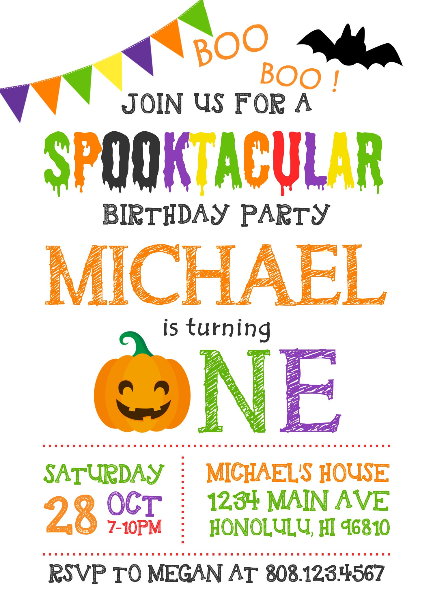 Halloween Birthday Invitation. Pumpkin First Birthday Invitation Boy ...