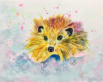 Mr. Scruffy hedgehog -Museum quality print