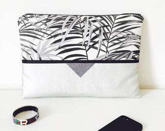 Sleeve Macbook tropical Rock silver 13 inch, silver leatherette
