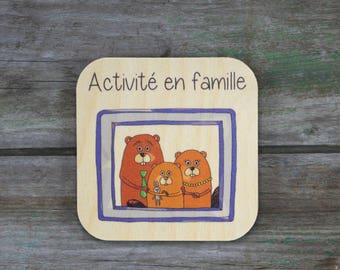 """Family activity"" symbol - Daily Routine - 3 to 5 years old wooden"