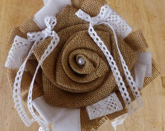 Door Alliances flower burlap and lace (made to order)