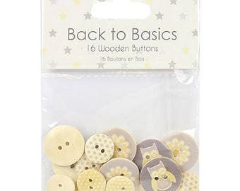 Baby Steps Wooden Buttons Dovecraft Basics 16 Pack Scrapbooking Card Craft