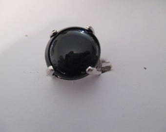 steel imitation black onyx stone ring